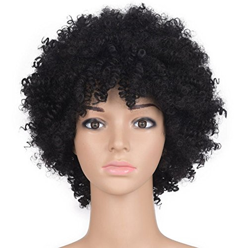 Frauen synthetische hitzebeständige Perücken schwarz kurze afrikanische verworrene afro lockiges Haar mit Perücke Kappe Schwarze