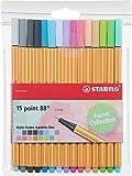 Stabilo Point 88-Terciopelo de bolígrafos Punta Fina-Colores Neon, color Coloris pastel