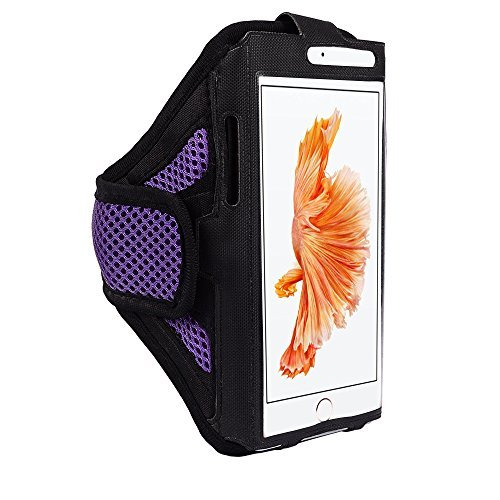 jlyifan Premium Mesh Running Gym Sport Armband Fall für iPhone 7Plus/Samsung Galaxy J7/Motorola Moto/G 4/Moto Z Force/LG Stylo 2/Blu R1/Alcatel Pop 4S 4+, Violett/Schwarz