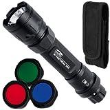 LiteXpress X-Tactical 101 Aluminium LED-Taschenlampe bis zu 122 Lumen inklusive 3 verschiedene Farbfilter und Nylonholster, schwarz, LXL439001B