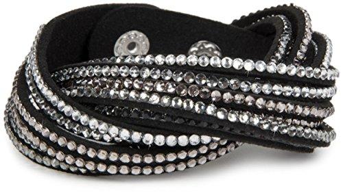styleBREAKER weiches Strass Armband, eleganter Armschmuck mit Strassteinen, Wickelarmband, 6x1-Reihig, Damen 05040005, Farbe:Schwarz/Klar-Hellgrau