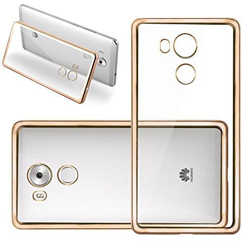 Cadorabo Hülle für Huawei Mate 8 - Hülle in TRANSPARENT mit Chrom Gold – Handyhülle aus TPU Silikon im Chrom Design - Silikonhülle Schutzhülle Ultra Slim Soft Back Cover Case Bumper