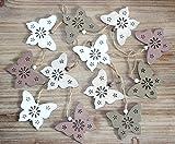 12er SET Dekohänger Schmetterlinge Frühlingsanhänger + 1 Dekoherz aus Holz zum Aufhängen