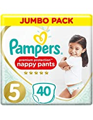 Pampers Premium Protection  Nappy Pants Size 5, 40 Nappy Pants, 12-17kg