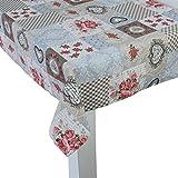 beties Dorfkinder Tischdecke ca. 130x130 cm in großer Sortiment-und Größenauswahl - Shabby Chic für den perfekten Landhaus Style Farbe (Taupe-rot)