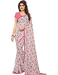 Kalaa Varsha Women's Faux Georgette Saree With Blouse Piece (5373_White & Pink)
