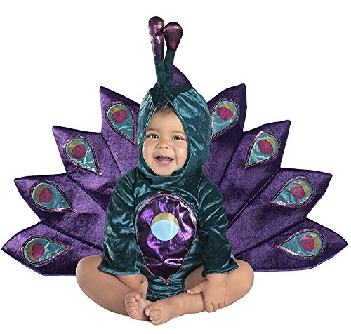 Deluxe Pfau Baby Kostüm Türkis Blauer Samt mit Pailletten veredelt Fasching Halloween Karneval ()