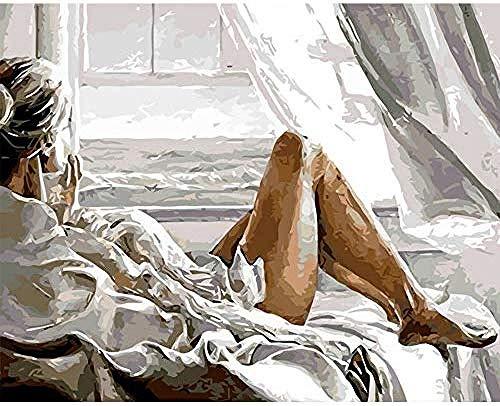 PaintXYZ DIY Malen Nach Zahlen Geschenk Für Erwachsene DIY Geschenk Acryl Malerei Malen Nach Zahlen Für Erwachsene Anfänger Sexy Frau Auf Dem Bett Beobachten Meer Hause Wanddekor 40X50Cm-With Frame