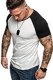 Amaci&Sons Oversize Doppel Farbig Herren Slim-Fit Crew Neck Basic T-Shirt Rundhals 1-0015 Weiß/Schwarz XL