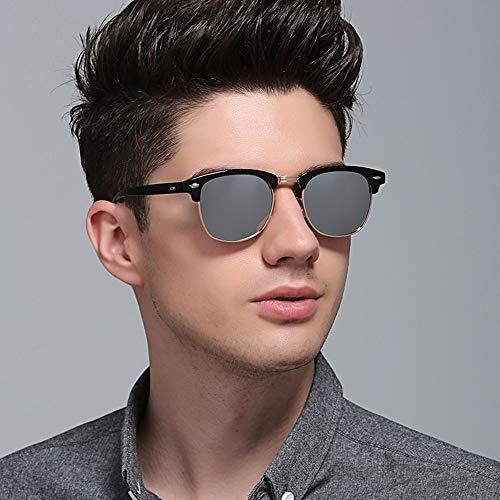 Männer und Frauen Klassische Retro-polarisierte Sonnenbrillen, Reise-Sport-Sonnenbrillen Accessoires (Farbe : Black/Silver Lens)