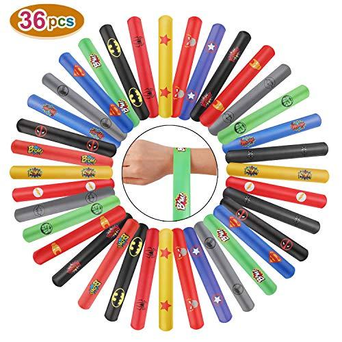 Ucradle Superhero Snap armbänder - 36 Stück Schnapparmbänder, Perfektes Superhelden Slap Bands Kindergeburtstag Spielzeug für Jungen, Schnapparmband, Klatscharmband, Mitgebsel für Kinder und Mädchen -