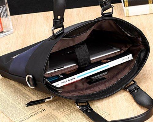 Nuovo da uomo valigetta borsa a tracolla Retro Tela Borsa a tracolla uomo con pelle Borsa a tracolla Messenger borsa scuola borsa gray dark blue
