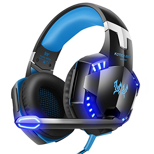 [Latest Version Gaming Headset For PS4] VersionTech KOTION EACH G2000 USB 3.5mm Game Gaming Headphone Headset Earphone Headband with Mic Stereo Bass LED Light for PS4 PC Computer Laptop Mobile Phones – Blue 51Fvx2D5vRL