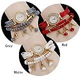 SNHWARE Frau Anhänger Armband Uhr neue Trendy Mock Ohrstecker mit Acryl Perlen Armband 3er Pack