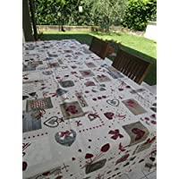 Pago Poco Tablecloth Outside Size 140X 360cm. Red Heart Cotton Made in Italy.