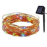 Tuokay Luci Stringa 10M 100 LED con Filo di Rame Luci Solari Impermeabili per Giardino, Terrazza, Patio, Matrimonio, Festa, Natale (Colori)