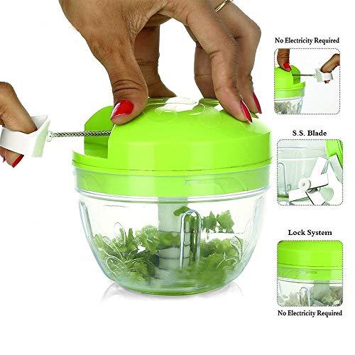DeoDap Manual Food Chopper- Compact & Powerful Hand Held Vegetable Chopper/Mincer/Blender (Easy Spin Cutter)