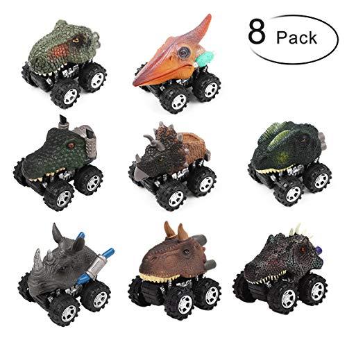 PROACC Juego de 8 Coches Dinosaurios, plástico Tire hacia...