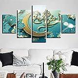 xjzjiayou Impression sur Toile 5 Parties HD Imprimé Toile Affiche Salon Décor 5 Pièces Islam Allah Le Qur'An Lune Peintures Musulman Photos Mur Art avec Cadre