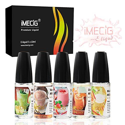IMECIG 5x10ml Premium E-Liquid für E Zigaretten/Elektrische Zigarette/E Shisha, Fr¨¹chte(Erdbeer-Melone-Apfel-Vanille-Orangen)-Milchshakes Gemischter Geschmack, VG/PG 70/30 -ohne Nikotin, 5 Stück