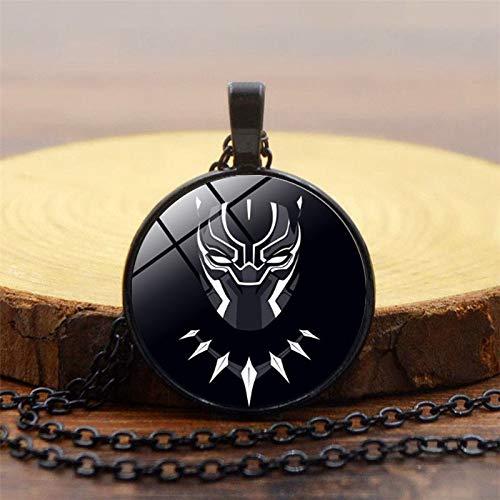 DADATU Halsketten für Herren Film Souvenir Bürgerkrieg Superhelden Schwarz Neue Schwarze Panther Halskette Wakanda König T'challa Black Panther Cosplay Halskette (Herren Bürgerkrieg Kostüm)