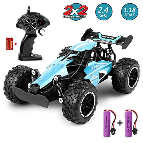MOSFiATA RC Car 1:18 Scale 2.4Ghz Remote Control Trucks, 15-20 km/h High Speed Racing Car with 2 Lithium Rechargeable Batteries, Electric Toy Car for All Adults & Kids