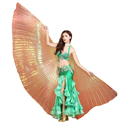 cinnamou Ägypten Belly Wings Isis Wings Für Bauchtanz Tanz Schleier Flügel Schleier Zubehör Kostüme Fasching Karneval Keine Stöcke (Orange)