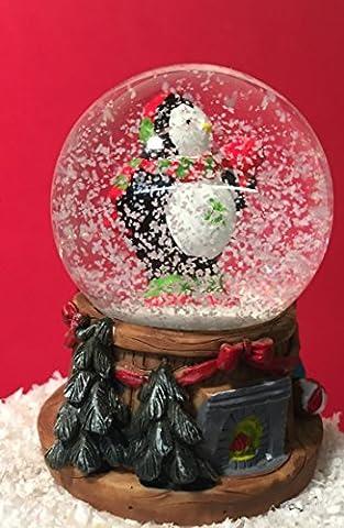 Small Christmas Snow globe ~ Glass Waterball & Fireplace Base