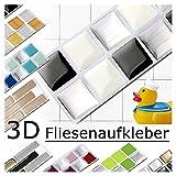 Grandora 7er Set 25,3 x 3,7 cm Fliesenaufkleber schwarz weiß Silber Fliesensticker Design 3 Mosaik 3D-Effekt Aufkleber Küche Bad Fliesendekor Selbstklebend W5288