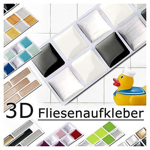 7 pieces Set 25,3 x 3,7 cm black white silver Tile Sticker Design 3 I Mosaic 3D Sticker Kitchen Bathroom Tile Decor self-adhesive Grandora W5288