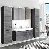 Lomadox Badezimmer Set in Eiche Rauschsilber - 120cm Waschtisch-Unterschrank mit 2 Softclose-Auszügen inkl. Waschbecken - LED-Spiegelschrank mit Steckdose - 2 Hochschränke mit 2 Türen & Schubkasten