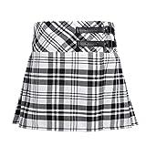 Agoky Kinder Mädchen Rock Röcke Kariert Schottischer Kilt Tartan Rot Klassischer Rock Uniform Kleid Highland Stewart Muster mit 2 Lederriemen und Schnallen gr.104-164 Schwarz&Weiss 164(Taille 70cm)