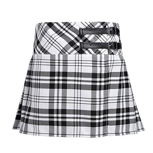 Agoky Kinder Mädchen Rock Röcke kariert Schottischer Kilt Tartan Rot klassischer Rock Uniform Kleid Highland Stewart Muster mit 2 Lederriemen und Schnallen gr.104-164 Schwarz&Weiss 164(Taille ()