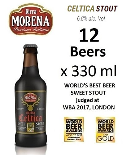12 X Birra Morena Celtica Stout 6,8 % alc vol ml 330 World's Best Sweet Stout taste caramel vanilla chocolalate Artigianale Craft Beer Italian Beer Award Best Gift Events Christmas Easter