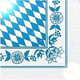 250 Servietten 33 x 33 cm 3-lagig 1/4-Falz Bayrisch Blau Oktoberfest