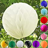 "TtS 4""(10cm) Tissue Paper Honeycomb Balls Table Centrepiece Garland Wedding Decoration - Ivory"