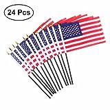 """VORCOOL 24 Stücke Amerikanische Hand Fahnen Mini USA National Land Hand Flagge für Paraden Scout Truppen Rückkehr 5,5""""x 10,2"""""""