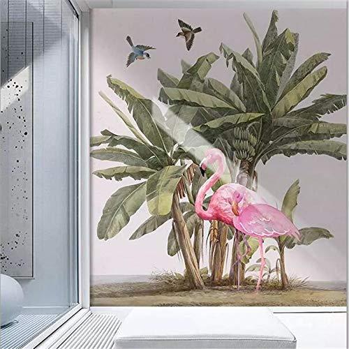 Apoart 3D Wandtapete Fototapeten Südostasien Handgemalte Bananenbaum Flamingo Hintergrund Wandbild Malerei Tapete350Cmx245Cm