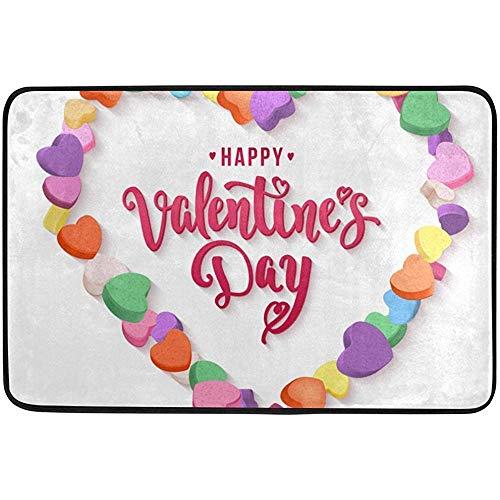 Kinhevao Valentinstag Süßigkeiten Herz Lieben Sie Fußmatten Fußmatten Schuhabstreifer für Zuhause Hauseingang Weg Haustür Badematte (Herzen Süßigkeiten Benutzerdefinierte)