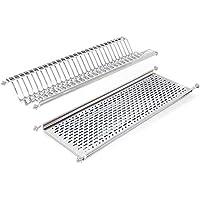 Emuca 8929865 - Escurridor de platos y vasos, de acero inoxidable para mueble de cocina, ancho 80 cm