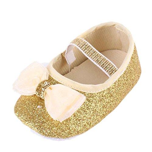 BYSTE Scarpe da Bambino Scarpe da Principessa Bowknot Sneaker Anti Scivolo Fondo Morbido Scarpe per Bambini + Fascia per capelli/2pcs (0-6 Mesi, Oro)