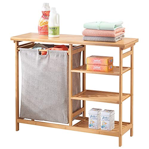 mDesign Estantería de baño con cesto para la Colada - Cesta para Ropa Sucia extraíble con Asas y estantes de Madera para el detergente, el suavizante, etc. - Mueble para lavadero - bambú