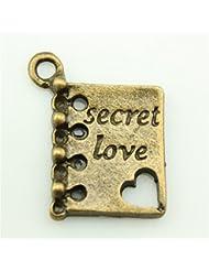 50pcs 22mm secreto amor Notebook encantos tono de bronce antiguo Colgante a10385