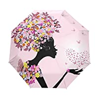 Folding Rain Sun Compact Automatic Umbrella Women Butterfly Floral Print Personalised Windproof Sunblock Compact Travel for Women Men Girls Boys