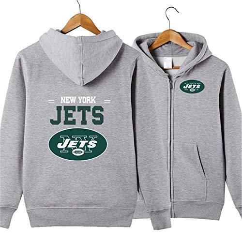 SZRXKJ Herren Langarm Mit Kapuze Buchstaben Druck New York Jets Football Team Einfarbig Reißverschluss Hoodies(L,grau)