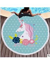Ocamo - Toalla de Playa Redonda de Microfibra para Mujer, para Verano, Playa ,