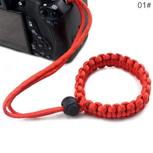 ANYIKE, 1 x verstellbares geflochtenes Kamera-Armband für Kameras, Ferngläser etc, rot, 23 cm Digital Single Lens Reflex