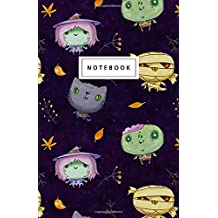 """Notebook: Halloween zombie, mummy, witch and cat Design: 5.5"""" x 8.5"""" lined pages. Great for note-taking/Composition/Writing/Planning/Diary/Gift"""