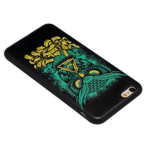 iPhone 6 Plus Hülle, Voguecase Silikon Schutzhülle / Case / Cover / Hülle / TPU Gel Skin für Apple iPhone 6 Plus/6S Plus 5.5(Grüne Eule) + Gratis Universal Eingabestift Grüne Eule