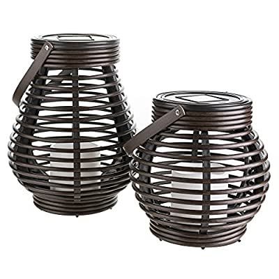 Gadgy ® Solar Lantern Set Rattan Look | Brown Marbled Plastic | 2 Pieces Teardrop and Round for Outdoor | LED Decorative Garden Light Table Top or Hanging from Gadgy